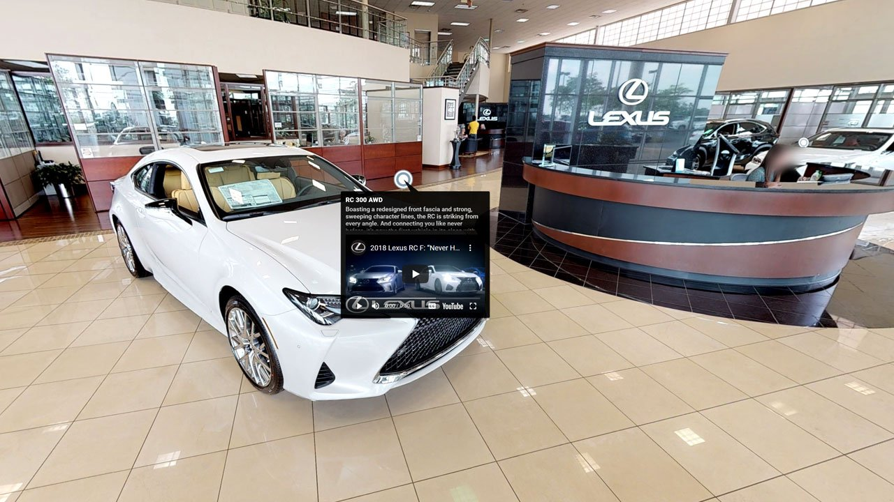 Car dealership with a virtual information point on a vehicle